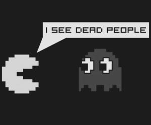 pacman, black and white, and people image