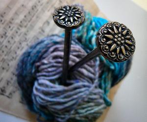 knit, yarn, and knitting needles image