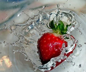 strawberry, red, and water image