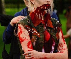 beautiful girl, blonde, and blood image