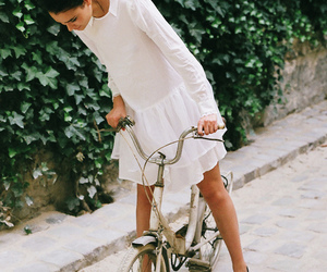 girl, bike, and dress image