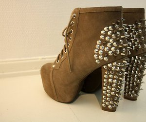 boots, studded, and brown image