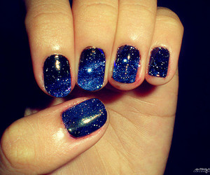 nails, galaxy, and blue image