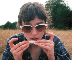 girl, weed, and sunglasses image