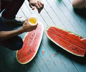 watermelon, boy, and fruit image