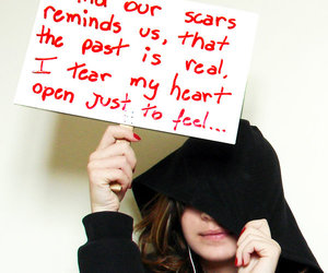 girl, quote, and scars image