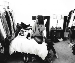 bedroom, black and white, and closet image