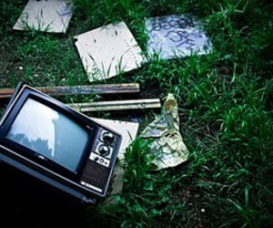 abandoned, grass, and tv image