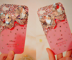 iphone, pink, and diamond image