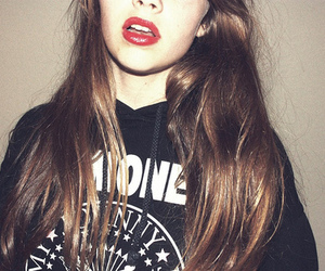 girl, jumper, and lipstick image