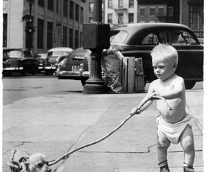 baby, street, and black and white image