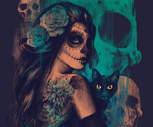 skull, cat, and art image