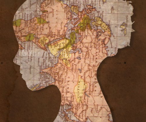 map, girl, and silhouette image
