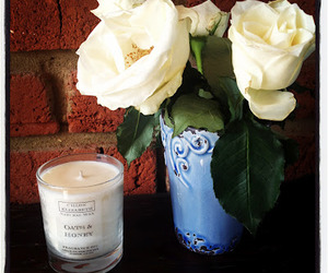 candle, rose, and vase image