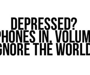 music, text, and depressed image