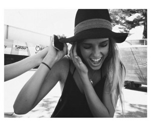 girl, hat, and black and white image