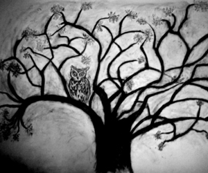 art, black and white, and tree image