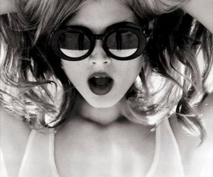 girl, black and white, and sunglasses image