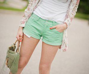 fashion, green, and shorts image