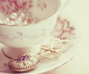 cup, pink, and pearls image