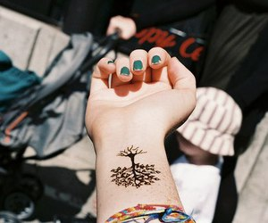 tattoo, tree, and nails image