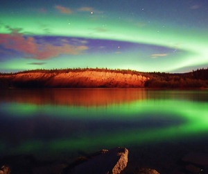 aurora boreal, lake, and nature image