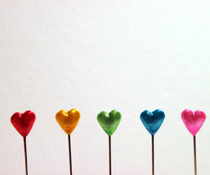 hearts, colorful, and rainbow image