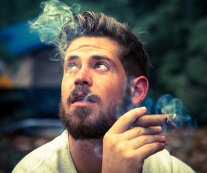 beard, man, and smoke image