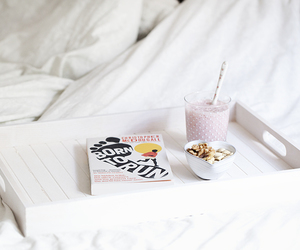 book, breakfast, and bed image
