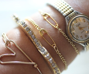 bracelet, watch, and gold image