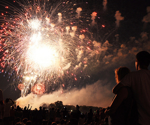 fireworks, couple, and photography image