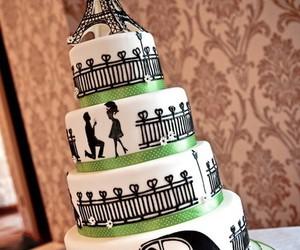 cake, paris, and wedding image