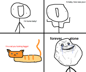 cat and forever alone image