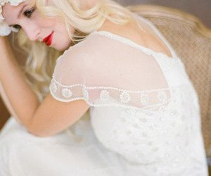 blonde, red lips, and wedding image