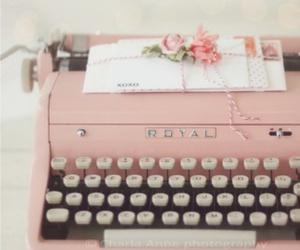 pink, vintage, and typewriter image