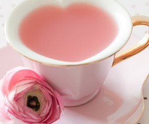 pink, tea, and heart image