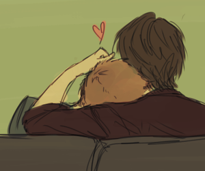 cuddling, larry, and in love image