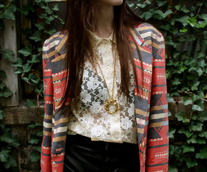 fashion, lace blouse, and lookbook image