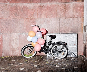 balloons, bike, and bicycle image