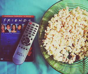 friends, popcorn, and dvd image