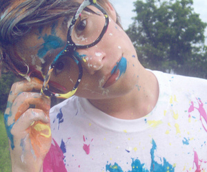 boy, glasses, and paint image