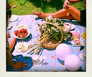 flowers, garden, and picnic image