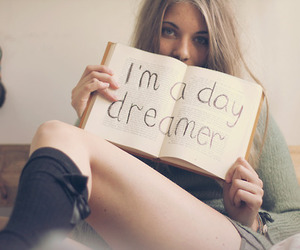 book, girl, and day dreamer image