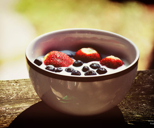 strawberry, blueberries, and food image