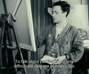 artist, black and white, and subtitles image