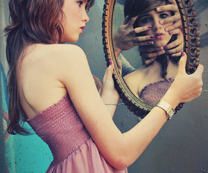 girl, mirror, and hands image