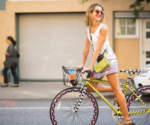 girl, bicycle, and style image