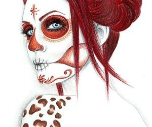 girl, draw, and skull image