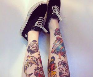 tattoo, legs, and vans image