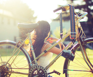 girl, bike, and camera image